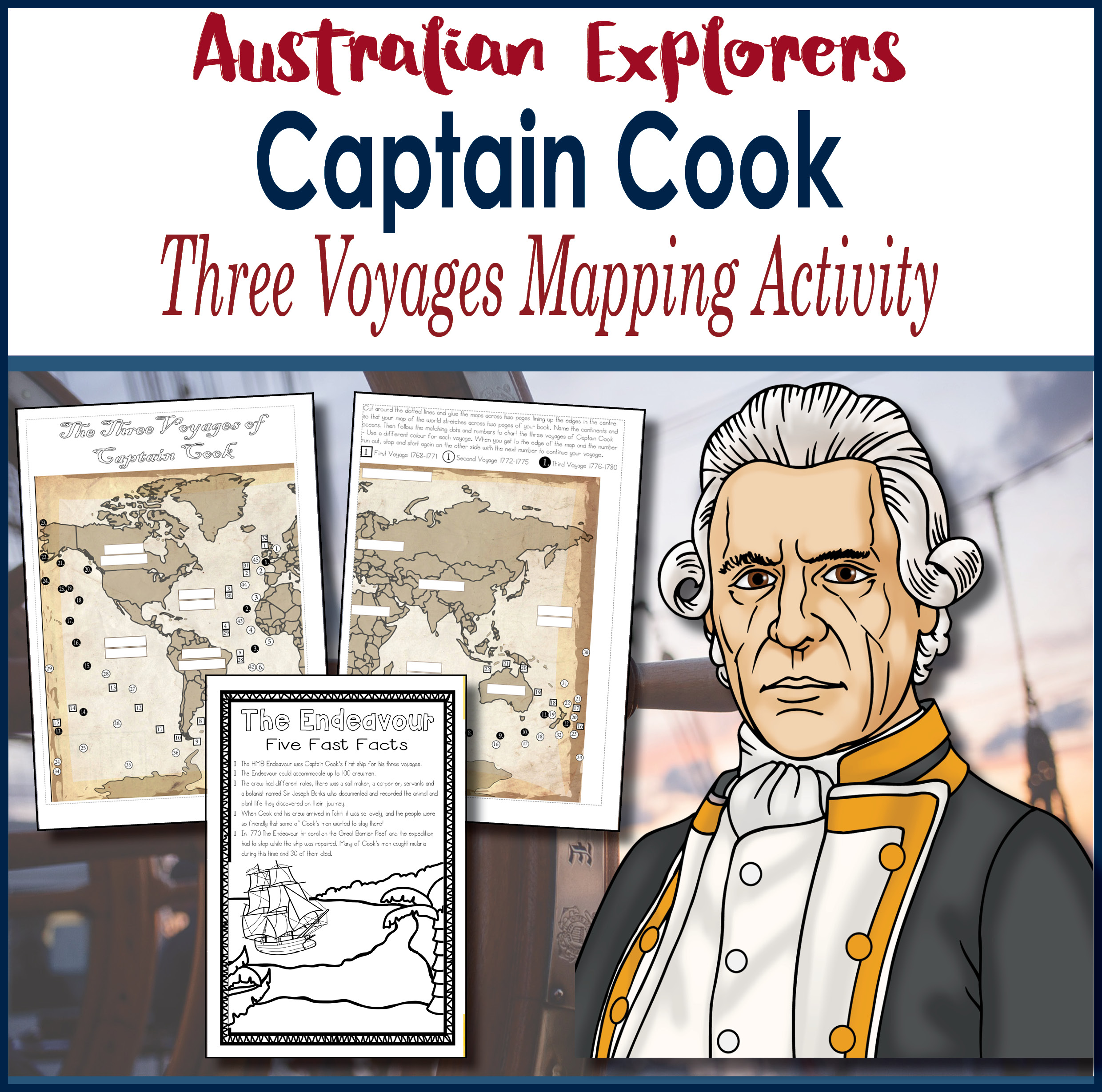 Australian Explorers Captain Cook Three Voyages Mapping Activity