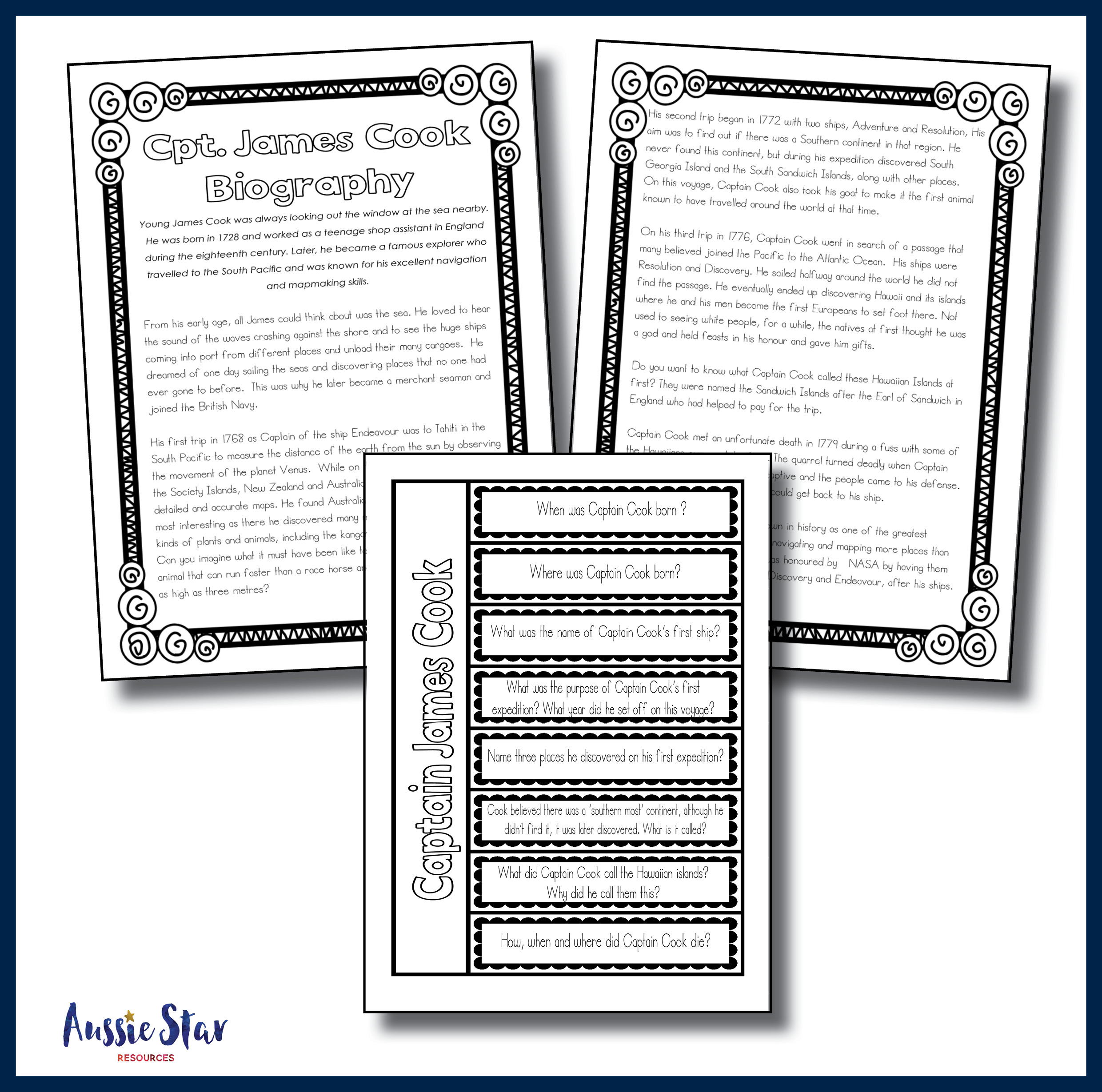 Free Worksheet Early Explorers Worksheets australian explorers captain cook biography comprehension square cover tester only4