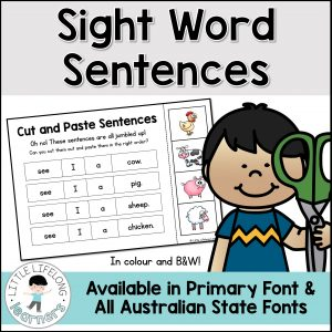 Teach your early readers how to read short and repetitive texts with these simple sight word sentence cut and paste activities! These emergent reader sentences are perfect for pre-readers and teaching children how to read! Revise sentence structure, punctuation, picture clues and reading strategies. Perfect for Kindergarten, Preschool and Australian Prep and Founation children. Includes QLD Beginners, NSW Foundation Font and VIC Modern Cursive!