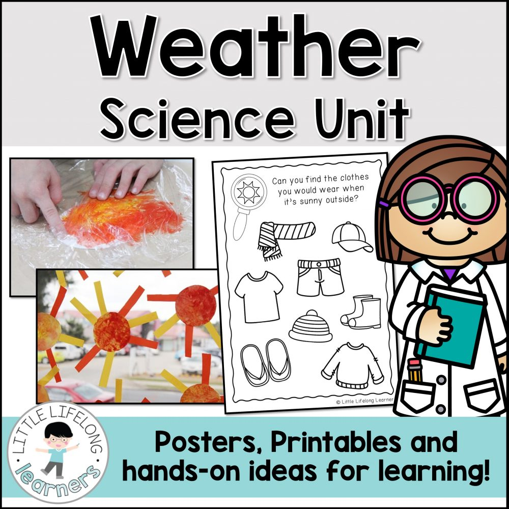 Explore weather with these integrated unit of work for Preschool, Kindergarten, Prep and Foundation children! Featuring rainy, sunny, cloudy, windy and stormy weather types, your kids will love the crafts, sensory, literacy and math activities included! The printables are perfect for your elementary classroom and Science Curriculum lesson plans!