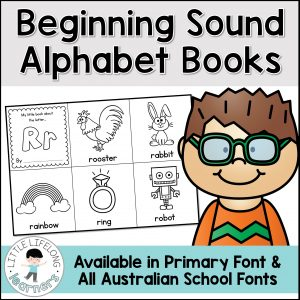 Review beginning sounds with this simple, fun alphabet books! Perfect for teaching kindergarten and preschool students about phonemic awareness, letters of the alphabet and beginning sound knowledge. Your students will love this simple center idea! These printables include all Australian Fonts – QLD Beginniners, NSW Foundation, VIC Modern Cursive – perfect for Australian Prep, Foundation and Prep-Primary.