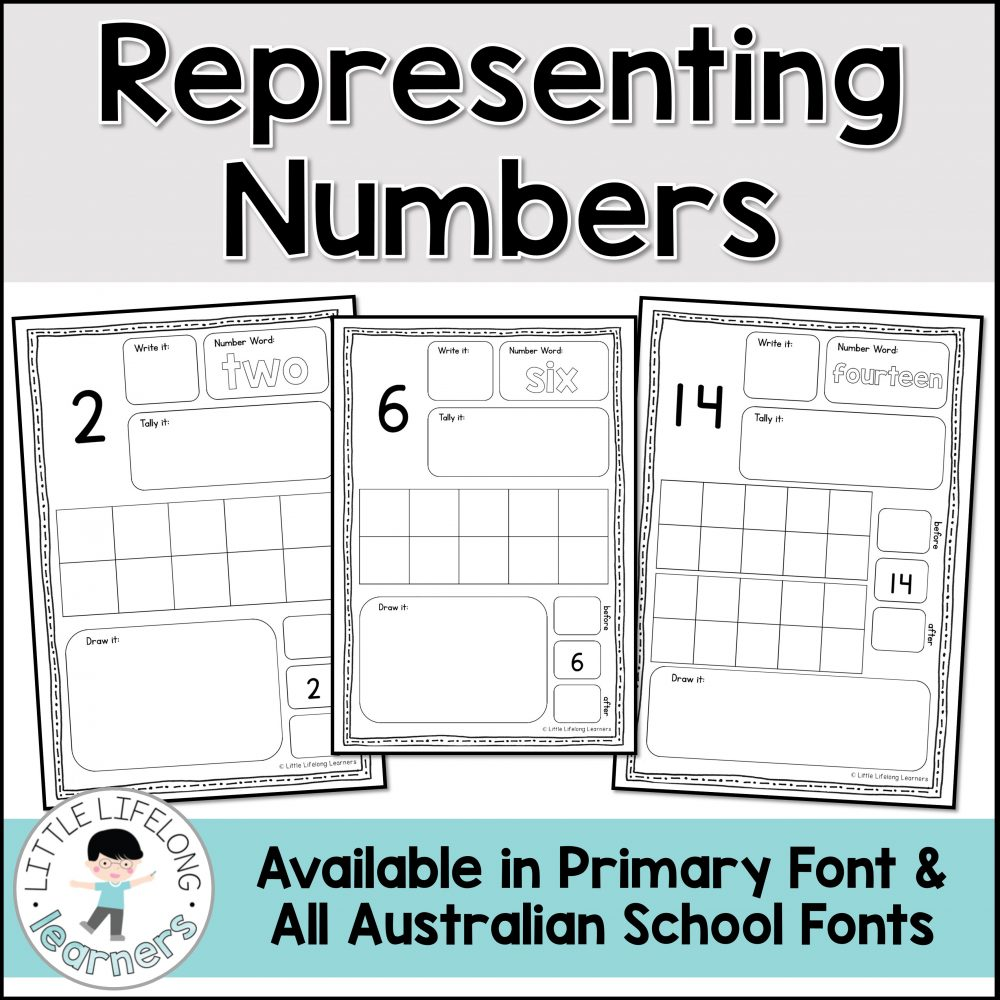 Explore how we can represent numbers in different ways with these simple worksheets focusing on numerals 1-20. Your kindergarten, prep and founation students will write the numeral, number word, add tally marks, fill in the ten frames and draw a pictorial representation for each number to twenty!
