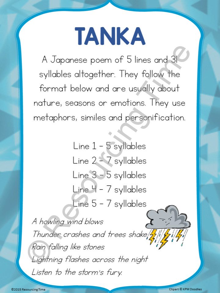 Poetry poster pack the alphabet tree for Tanka poem template