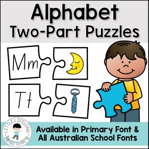 These alphabet puzzles are perfect for teaching letter recognition and beginning sounds with your preschool and kindergarten kids. Match the letters to the pictures for a simple phonemic awareness activity. These printables include all Australian State Fonts – QLD Beginners, NSW Foundation, VIC Modern Cursive – perfect for Australian Prep, Foundation and Pre-Primary.