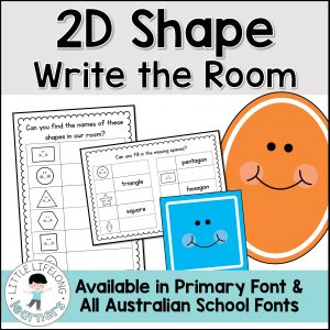 Your preschool and kindergarten kids will love this hands on, interactive 2D shape game! Hide the geometric shape posters around the room and have your kids record the shapes as they find them on the recording sheet worksheets. Your children will love learning about shapes with this fun math activity! Perfect for centers or use at home if you're a mom! Includes Australian Fonts – QLD Beginners, NSW Foundation and VIC Modern Cursive.