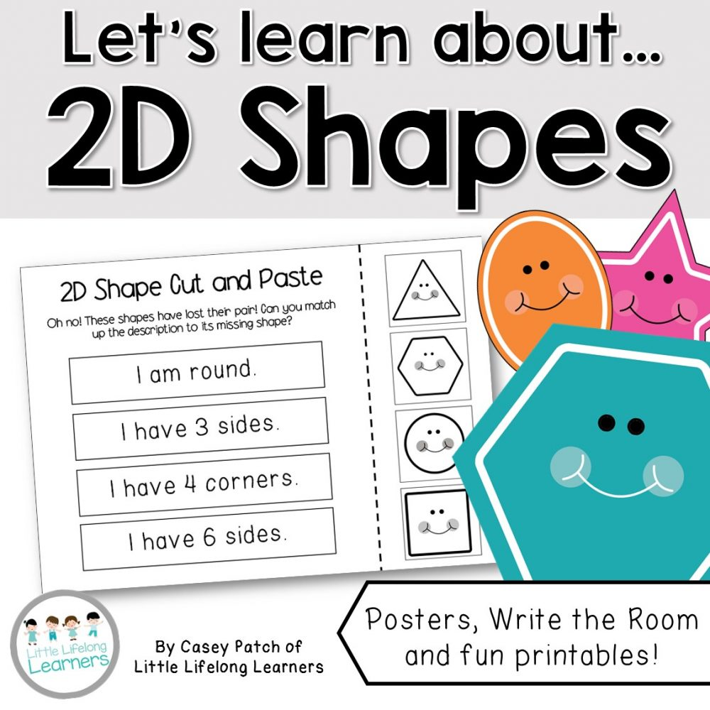 2D Shape Activity Packet including posters, write the room, mini shape book, cut and paste sentences and game board | Prep, Foundation and Kindergarten students | Australian Curriculum printables and resources