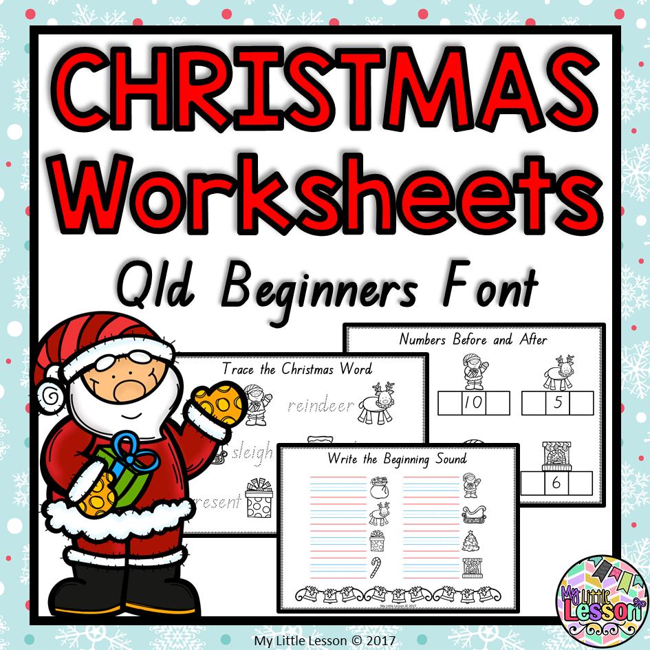 Christmas Worksheets.Christmas Worksheets Qld Beginners Font