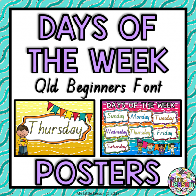 8X8 Cover - Days of the Week Posters Qld Beginners Font PNG