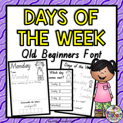 8X8 Cover Days of the Week - Qld Beginners Font PNG