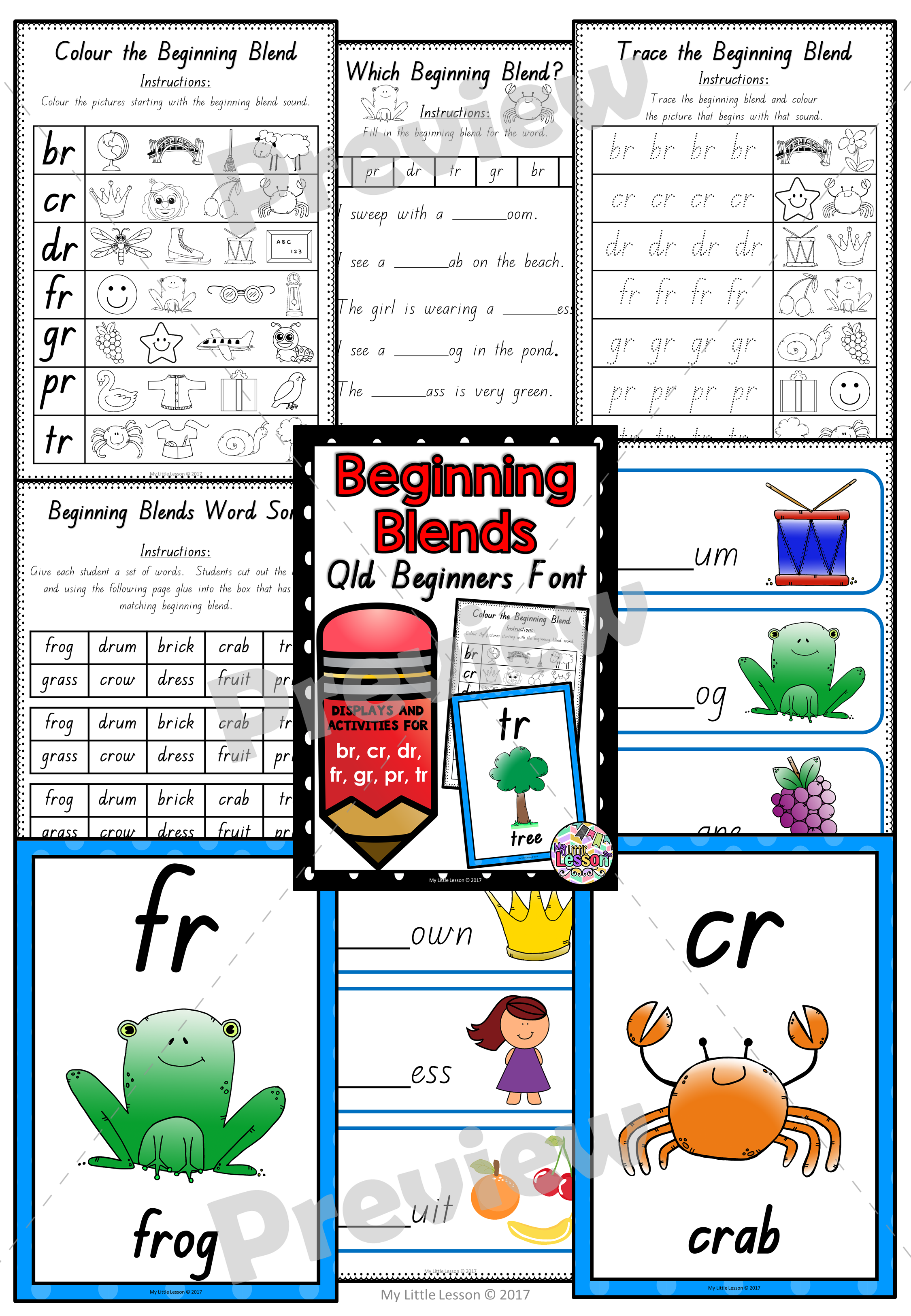 beginning blends br cr dr fr gr pr tr qld beginners font worksheets and posters the alphabet tree. Black Bedroom Furniture Sets. Home Design Ideas