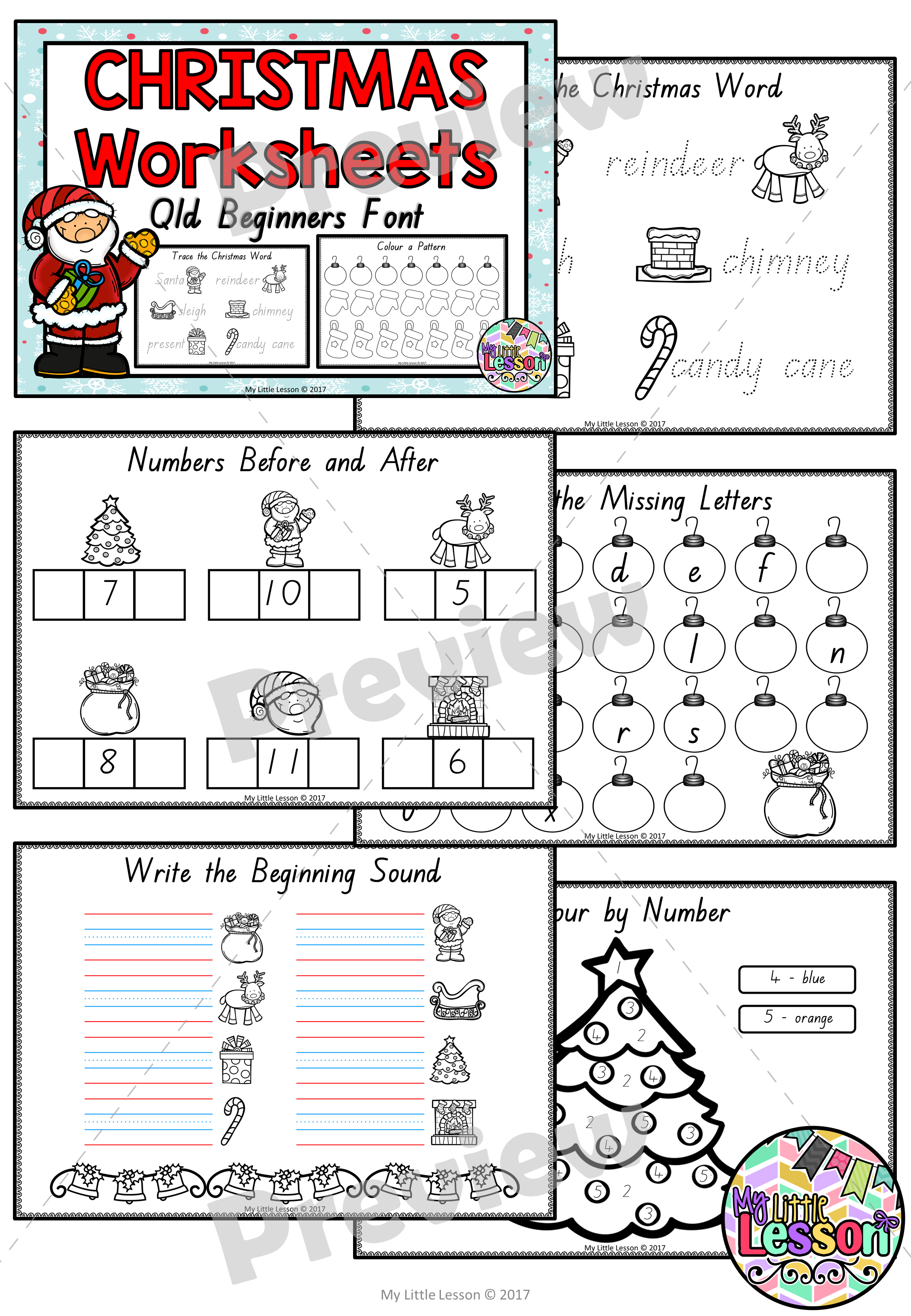 Christmas Worksheets QLD Beginners Font - The Alphabet Tree