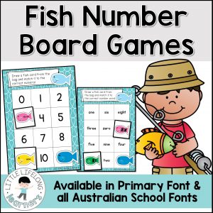 Your preschool and kindergarten kids will love these fish themed number recognition activities! These games are differentiated to suit early learners and advanced students too! Featuring numbers from 1-20, your children will love matching number words, numerals and tally marks! Includes Australian fonts – QLD Beginner's, NSW Foundation and VIC Modern Cursive.