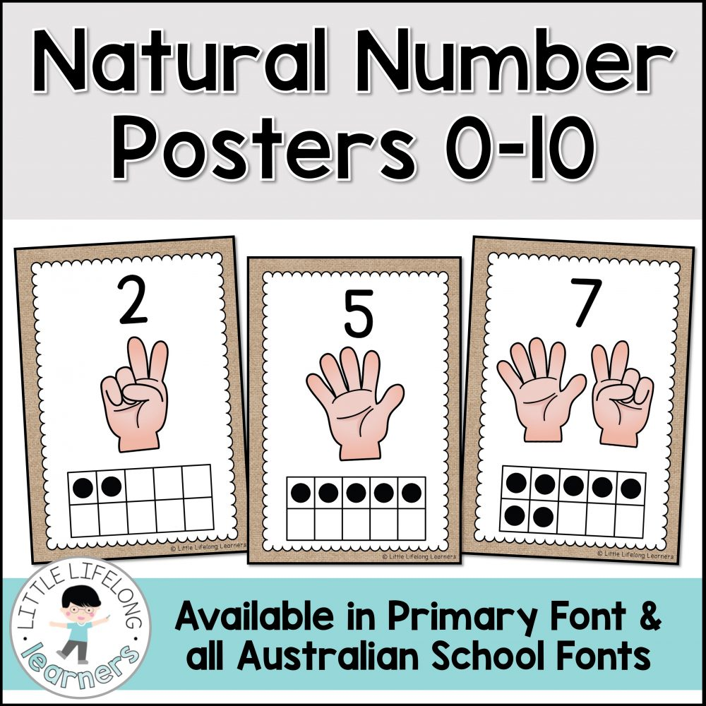 Set up an inviting natural number display with these burlap numeral posters. Your Kindergarten and Preschool kids will love using natural materials for number recognition and learning numerals from 0-10. Perfect for your Walker Learning or Reggio Emilia inspired learning space. Includes Australian Fonts – QLD Beginner's, NSW Foundation and VIC Modern Cursive.