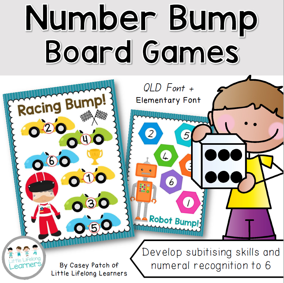 Number Nump Board Games - learn how to subitise and recognise numerals 1 to 6 | Prep, Foundation and Kindergarten students | Australian Curriculum printables and resources