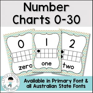 These number posters are perfect for your classroom display! Featuring numerals, number words and ten frames, your Kindergarten and Preschool kids will love exploring numbers from 0-30, 1-20, 1-20 and so on! This printable looks great blown up big and displayed on your walls and includes all Australian Fonts – QLD Beginner's, NSW Foundation and VIC Modern Cursive!