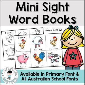 Teach your early readers how to read short and repetitive texts with these simple sight word books! These emergent readers and pre-readers are perfect for teaching children how to read! Perfect for Kindergarten, Preschool and Australian Prep and Founation children. Includes QLD Beginners, NSW Foundation Font and VIC Modern Cursive!