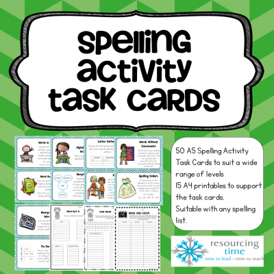 Spelling Activity Task Cards Cover