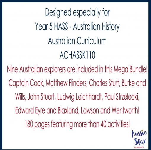 Year 5 HASS Australian History 180 pages with more than 40 Activities