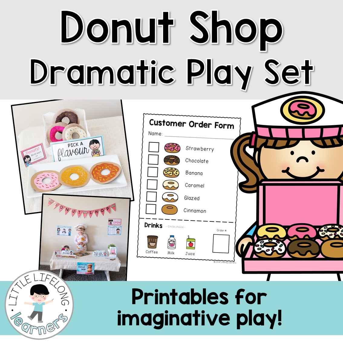 Donut Shop Dramatic Play Set | Printables for setting up your own imaginative play area | Posters, labels, signs and printables for play-based learning | Australian Prep and Foundation classroom resources |