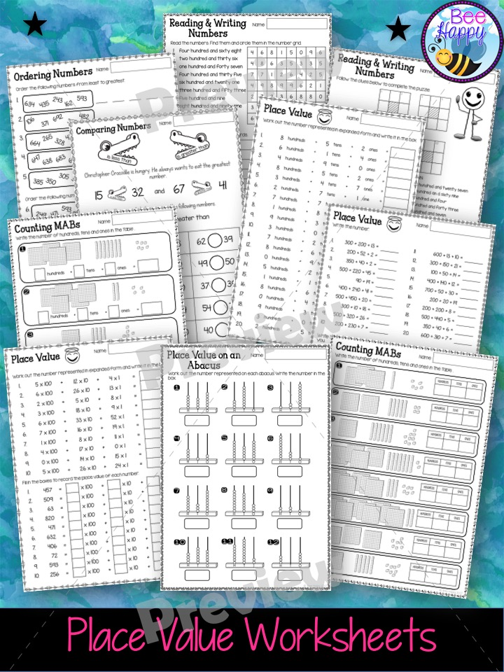 year 2 maths unit 2 place value worksheets and task cards the alphabet tree. Black Bedroom Furniture Sets. Home Design Ideas