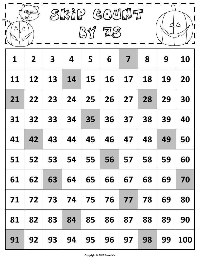 100 Number Charts With Skip Counting Halloween The