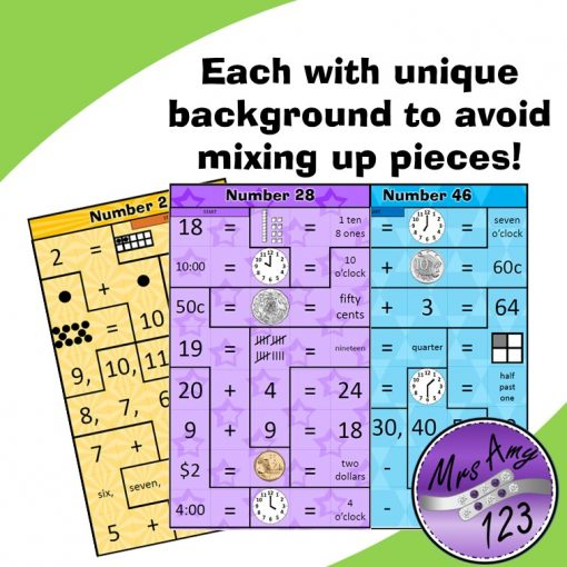 Mental Maths Puzzle Strips -Lower Each with unique background to avoid mixing up pieces