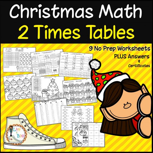 9 Worksheets for 2 times tables Christmas Math Livy and Boo