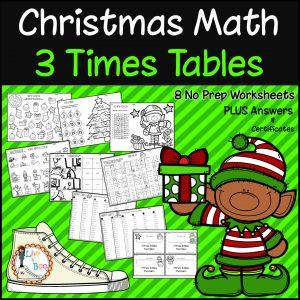 Christmas Maths No prep worksheets 3 times tables