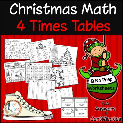 4 Times Tables Christmas Maths Activities