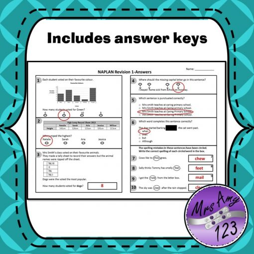 Year 3 Naplan Quizzes includes answer keys
