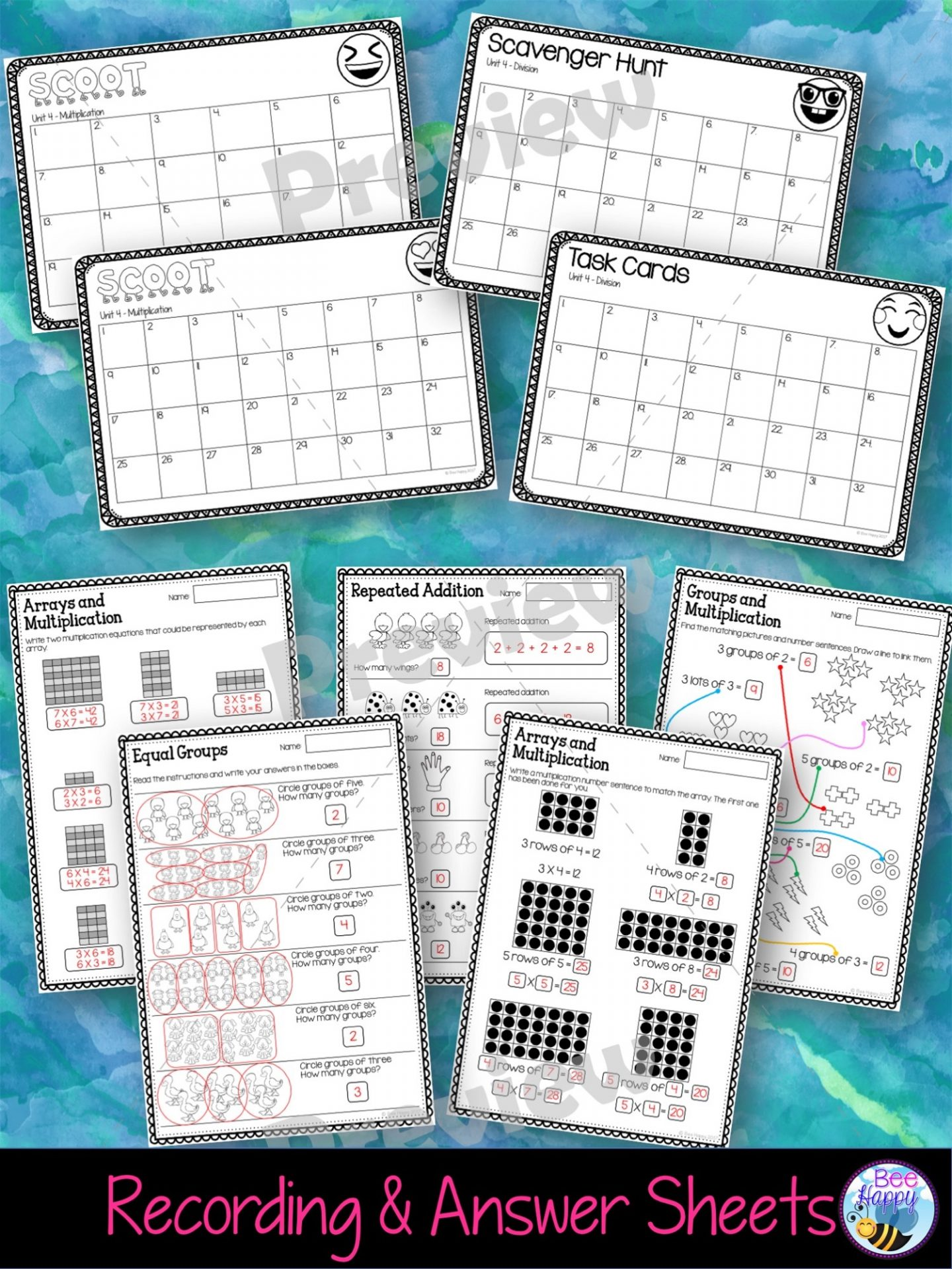 Year 2 Unit 4 Multiplication & Division Worksheets & Task Cards ...