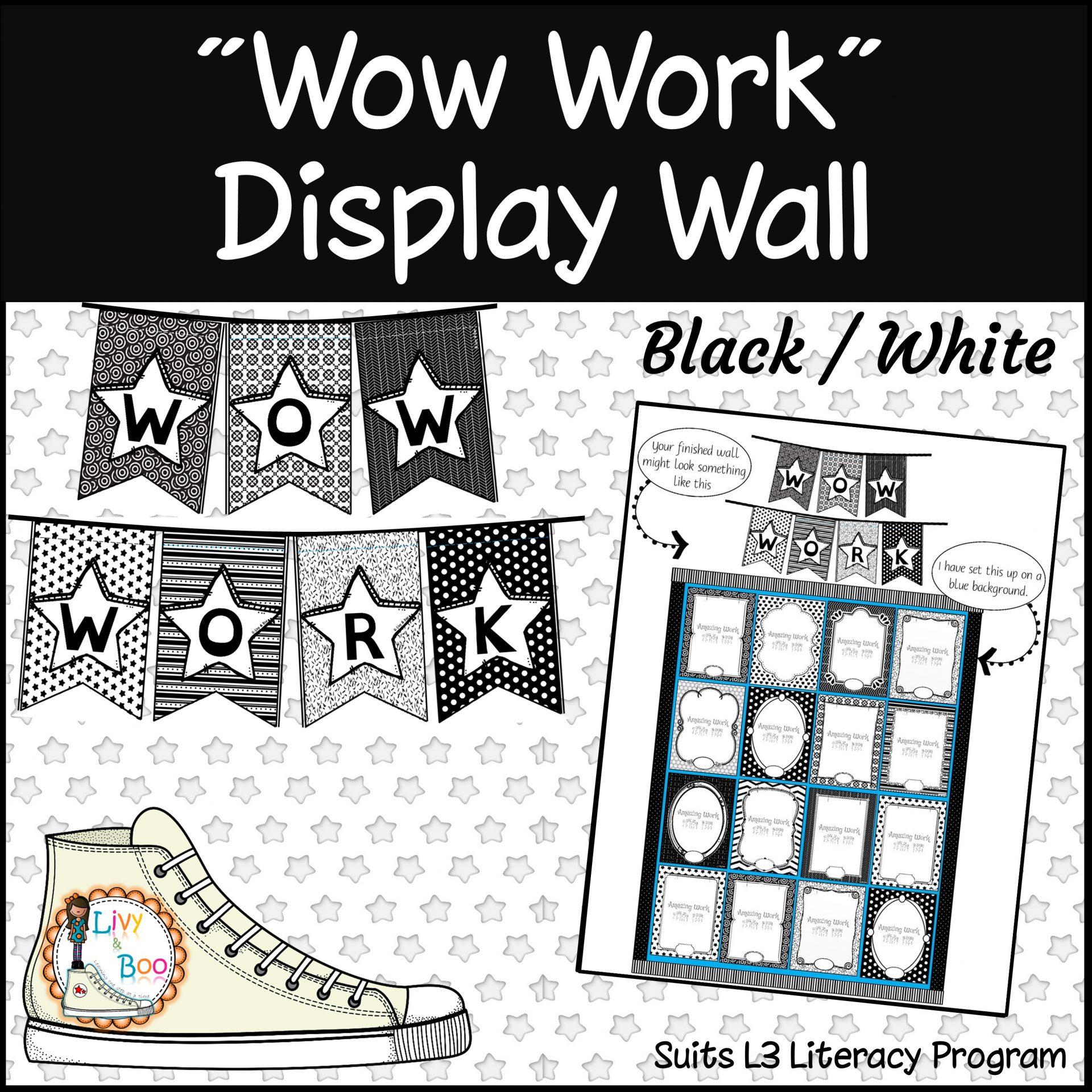 Wow Work Display Wall L3 Blackwhite Classroom Decor