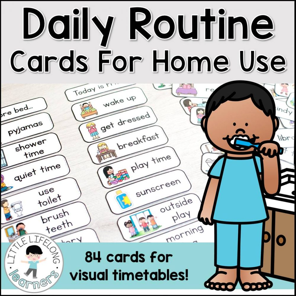 Daily routine cards for making visual timetable and schedules for toddlers, preschool, tot school and Kindergarten | Behaviour management in the early years | Autism, ASD | Visual aids, visual timetable, visual supports | Printables for Australian teachers and parents for the home and classroom