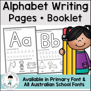 Alphabet writing worksheets and printable book | Printables for Australian teachers | Prep, Preschool, Kindergarten, Homeschool and Totschool activities | Literacy rotations, centers and reading groups | Print and go, no-prep activities | Queensland Beginner's Font and Elementary Font |
