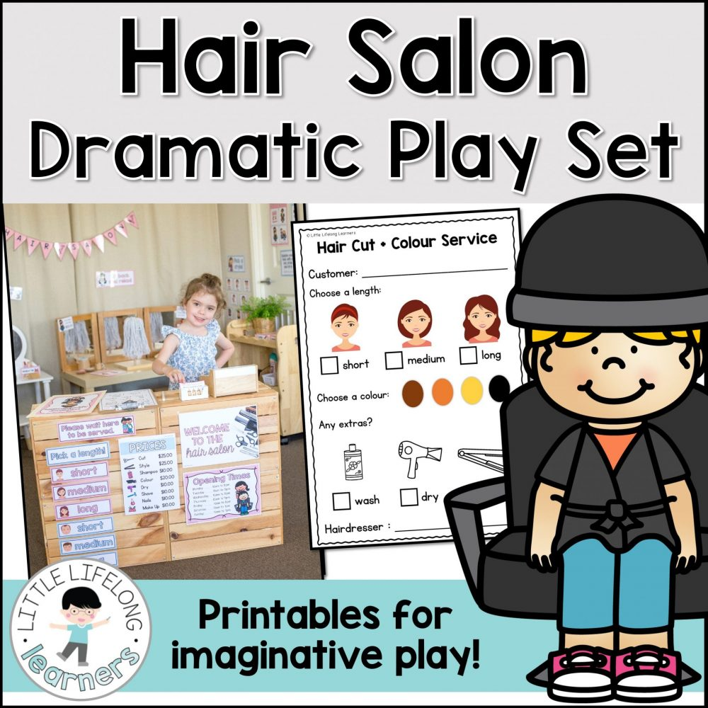 Set up a fun hair salon dramatic play area for your kindergarten and preschool kids! They will love doing each others hair and makeup while developing oral language and social skills. This hairdresser and beauty salon set is the perfect compliment to your community helpers unit!