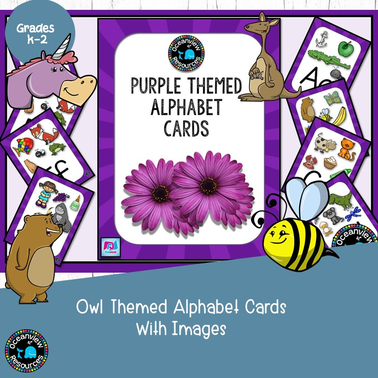Purple Coloured Alphabet Posters with Pictures- Ideal for Bulletin Boards