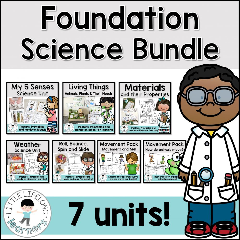 Foundation Science Unit | Living things and their needs, Weather, Movement and how things move, Materials and their Properties | Printables, hands-on activities, worksheets, lesson ideas | Australian Curriculum Unit for Prep Foundation Kindergarten Year |